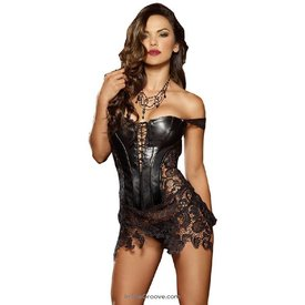 Dreamgirl Faux Leather Corset and Thong