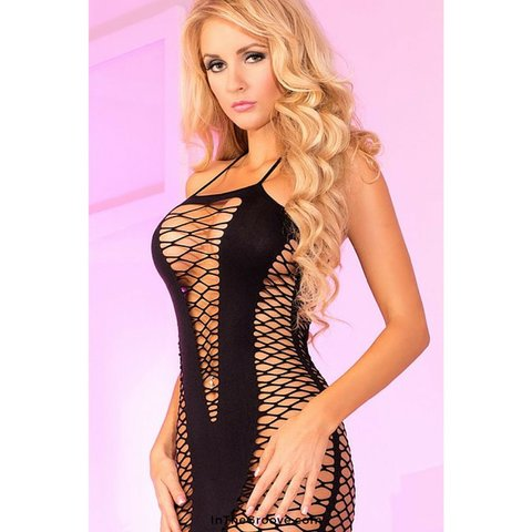 Seamless V-Plunge Dress Black - One Size