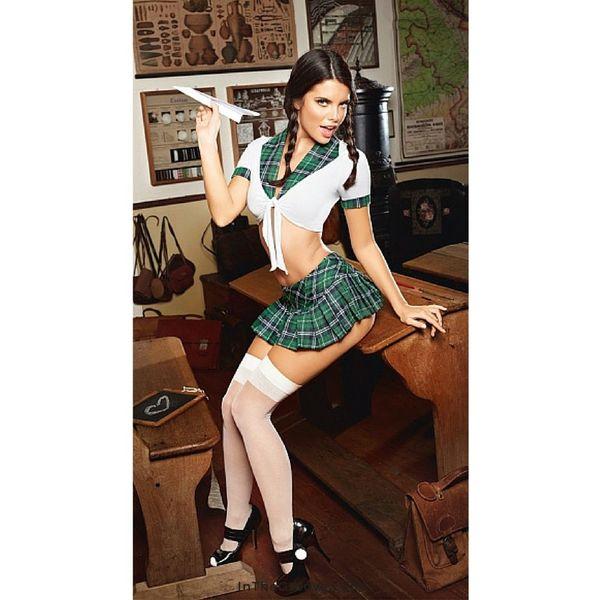 Baci Plaid Top Schoolgirl Set OS