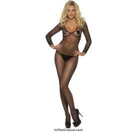 Fever/Smiffys Fishnet Bodystocking One Size- Black