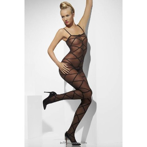 Sheer Bodystocking Criss-Cross Pattern