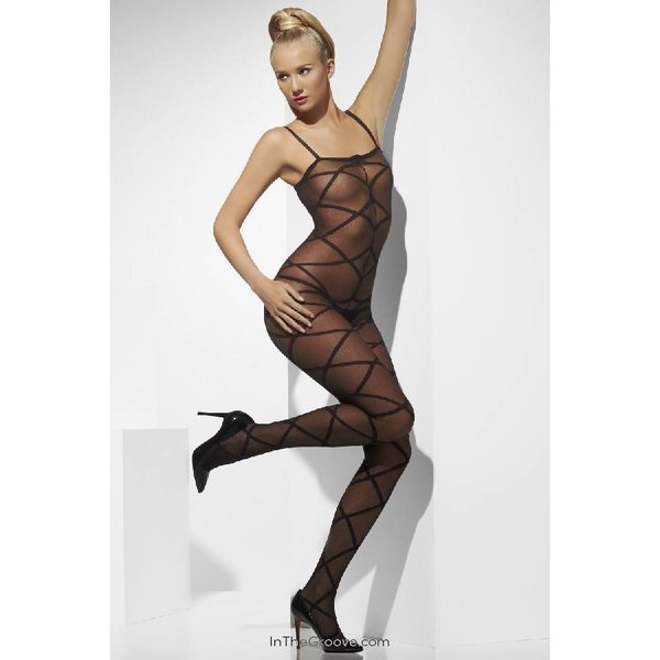 Fever/Smiffys Sheer Bodystocking Criss-Cross Pattern