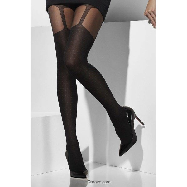 Fever/Smiffys Sheer Suspender Print Tights - Black