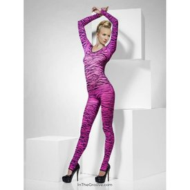 Fever/Smiffys Zebra Print Bodysuit Pink - One Size Fits Most