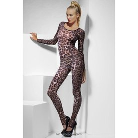 Fever/Smiffys Cheetah Print Bodysuit Brown  - One Size