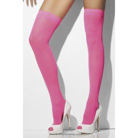 Fever/Smiffys Opaque Thigh High Stay-Up - Neon Pink