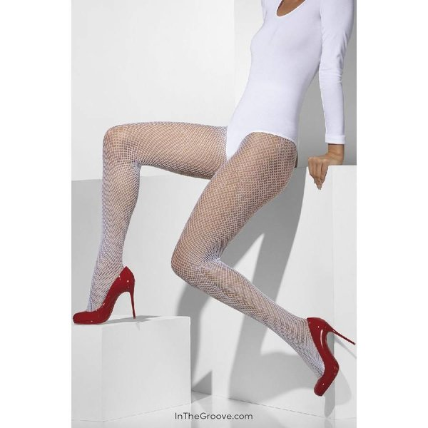 Fever/Smiffys Fishnet Tights One Size - White