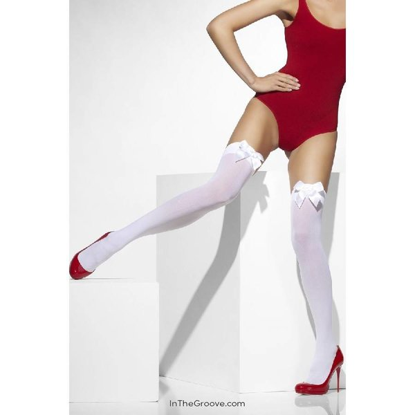 Fever/Smiffys Thigh High Stay-Ups with Bow - White