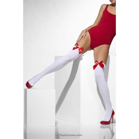Thigh High Stay-Ups With Red Bow - White