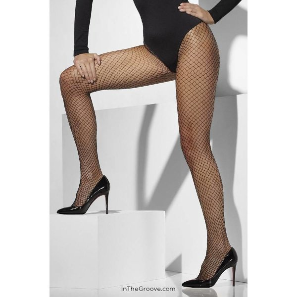 Fever/Smiffys Lattice Net Tights One Size - Black