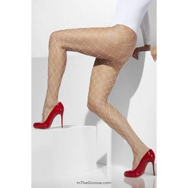 Fever/Smiffys Diamond Net Tights - White