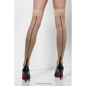 Fever/Smiffys Sheer Back Seam Cuban Heel Stay-ups - Nude/Black - One Size