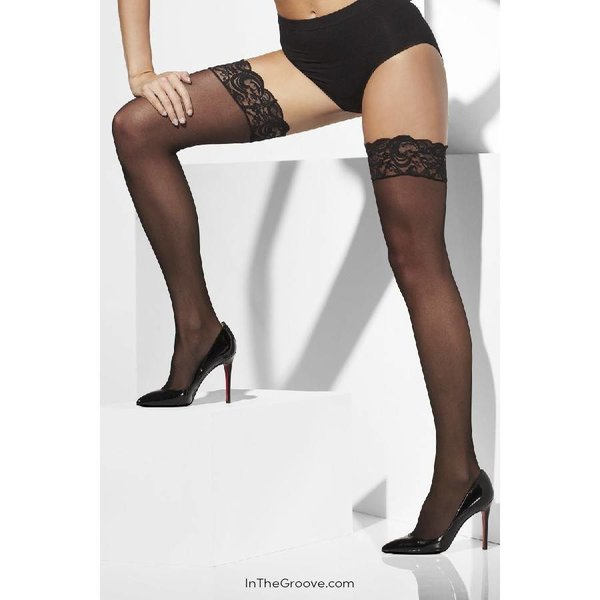 Fever/Smiffys Sheer Thigh High Lace Top Stay-Ups - Black - One Size
