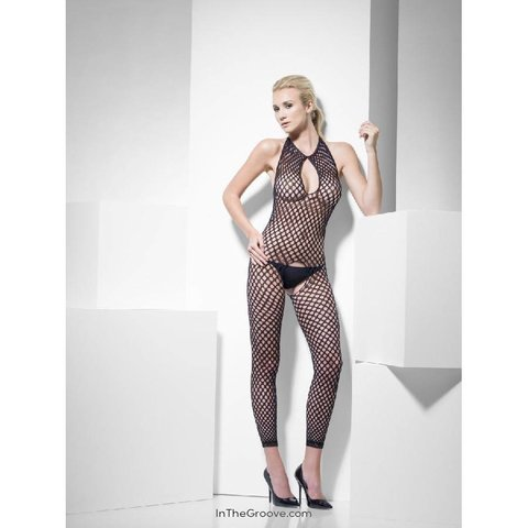Polka Dot Body Crotchless Stocking - Black