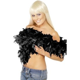 Fever/Smiffys Deluxe Feather Boa - Black