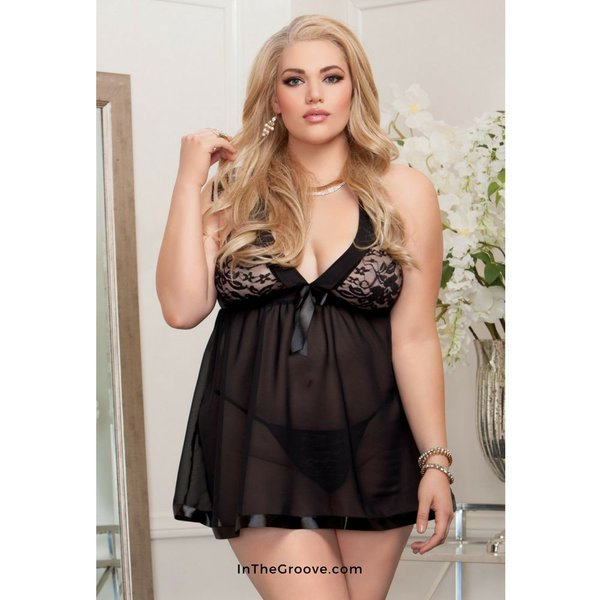 iCollection Halter Stretch Lace Soft Cup Babydoll Black