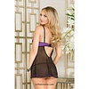 Microfiber Scallop Lace Babydoll Purple/Black