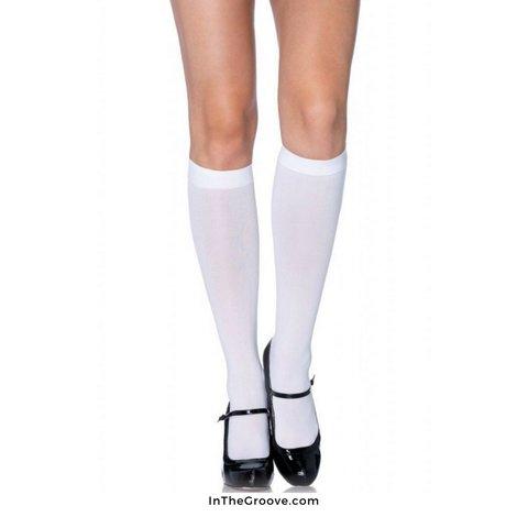 Nylon Knee Hi O/S White