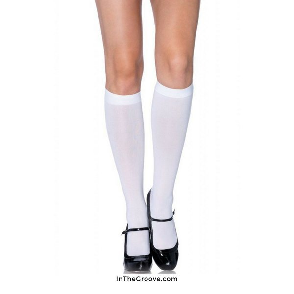 Leg Avenue Nylon Knee Hi White - One Size