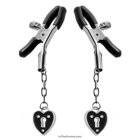 Heart Padlock Nipple Clamps - Black