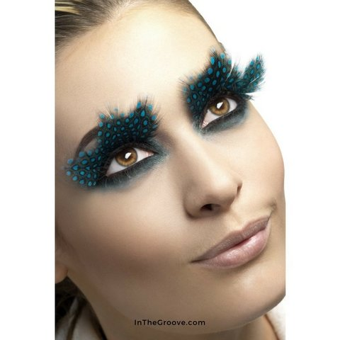 Eyelashes Large Plumes Aqua Dots Black