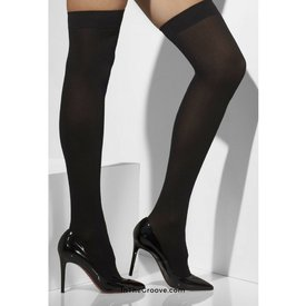 Fever/Smiffys Thigh High Stay-up Opaque Black- One Size