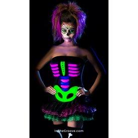 Fever/Smiffys Neon Skeleton Dress