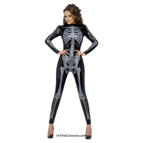 Fever/Smiffys Skeleton Glow Print Bodysuit