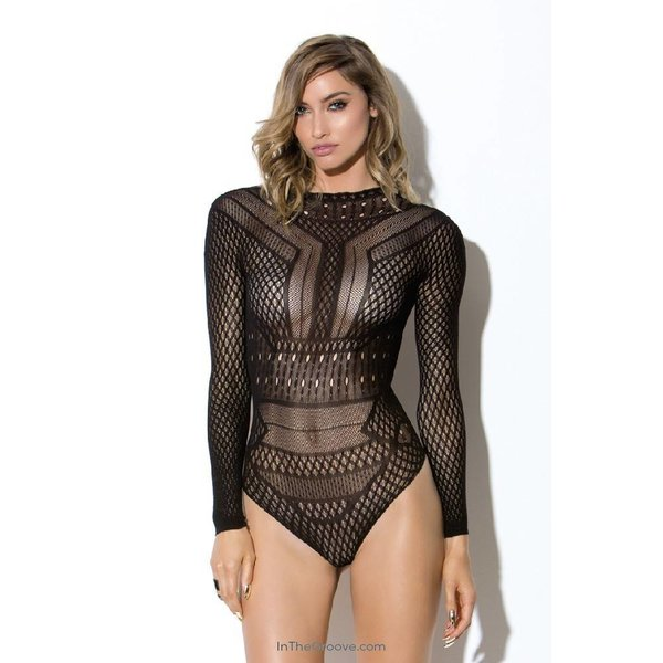 Hauty Long Sleeve Geometric Teddy - One Size - Black