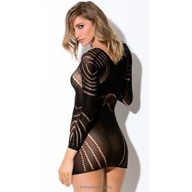Hauty Circular Netted Long Sleeve Chemise - One Size
