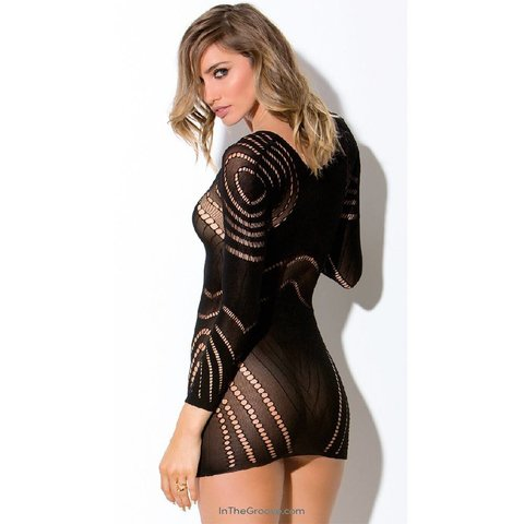 Circular Netted Long Sleeve Chemise - One Size