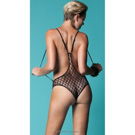 Hauty Seductress Diamond Mesh Teddy - One Size