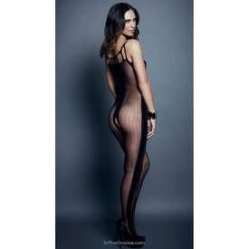 Hauty Vertical Stripe Bodystocking - One Size - Black
