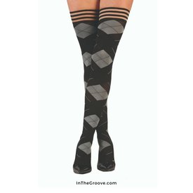 Kixies Kixies Kimmie Argyle Thigh Hi Stay-ups - Black/Gray