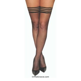 Kixies Kixies Sam Fishnet Thigh Hi Stay-ups - Black