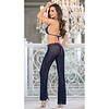 Mesh and Lace Pant Set - Navy