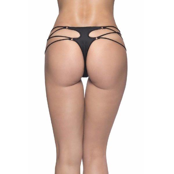 Oh La La Cheri Microfiber Thong With Strappy Sides