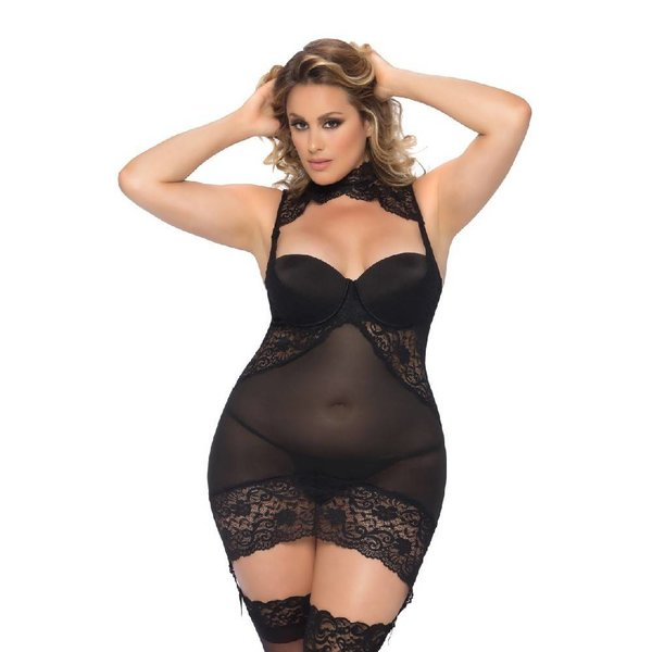 Oh La La Cheri Collared Babydoll With Lace Accents - Curvy