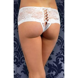 Seven 'til Midnight Lace Up Back Crotchless Thong White