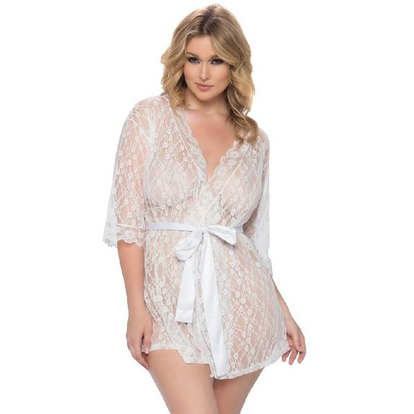 Oh La La Cheri Scalloped Lace Robe And Satin Sash White - Curvy