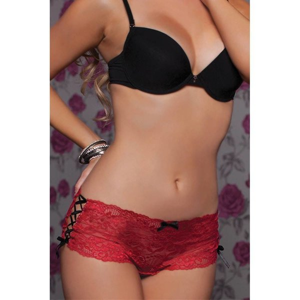 Seven 'til Midnight Lace Up Crotchless Boyshort