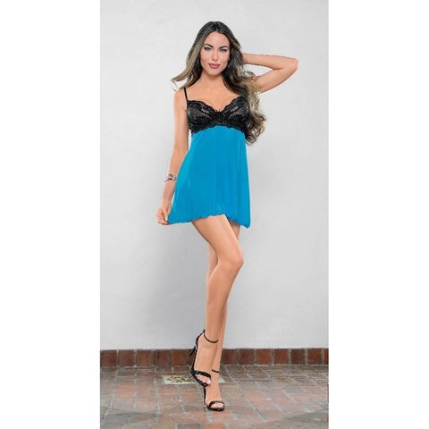 Must Have Mesh and Lace Babydoll Blue/Black