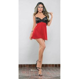 Escante Must Have Mesh and Lace Babydoll Red/Black