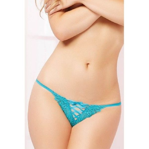 Seven 'til Midnight Galloon Lace Up Thong Turquoise