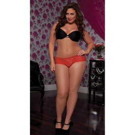 Seven 'til Midnight Lace Open Crotch Boyshort with Ruffles Red Curvy