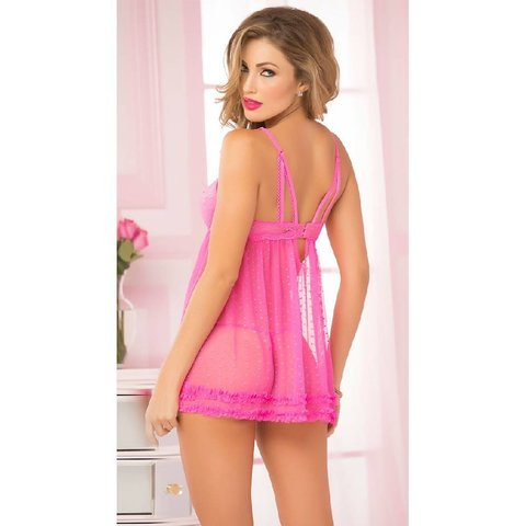Lace Dot Chemise and Thong Pink