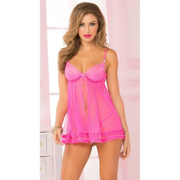 Seven 'til Midnight Lace Dot Chemise and Thong Pink