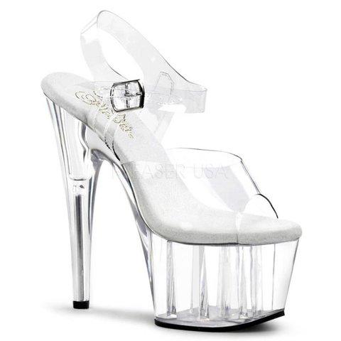 """Adore-708 7"""" Spike Heel Clear Platform Ankle Strap Sandal"""