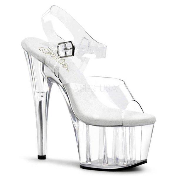 """Pleaser Adore-708 7"""" Spike Heel Clear Platform Ankle Strap Sandal"""