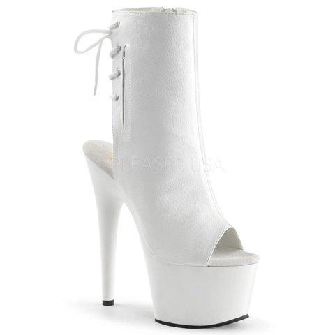 "Adore-1018 7"" White Stiletto Heel Platform Open Toe/Heel Lace-Up Back"
